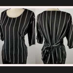 Town House Shops | Black Pinstripe Tie-Back Blouse